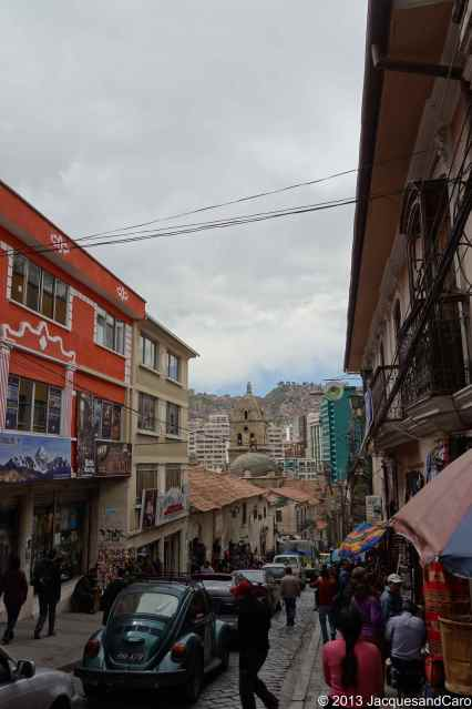 Busy street near our hostel where all the trekking/bike/travel agencies are located