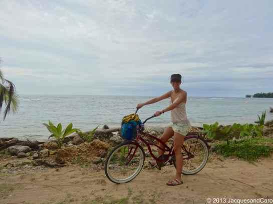 Caroline on her bike