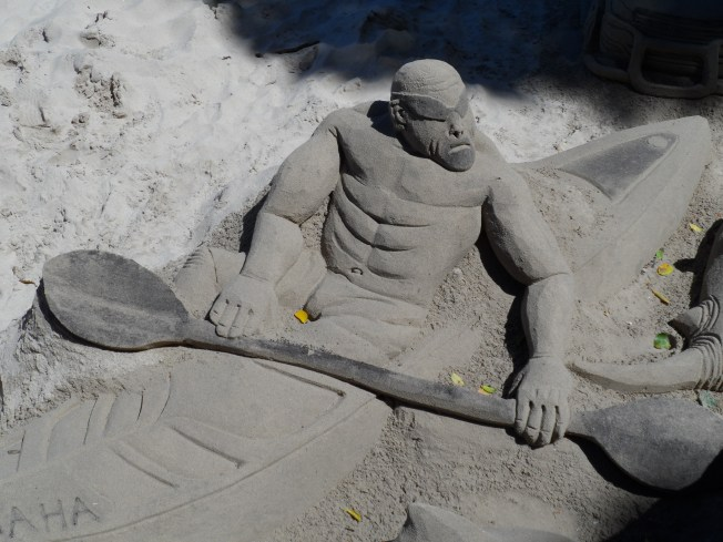 Almost life size sand art