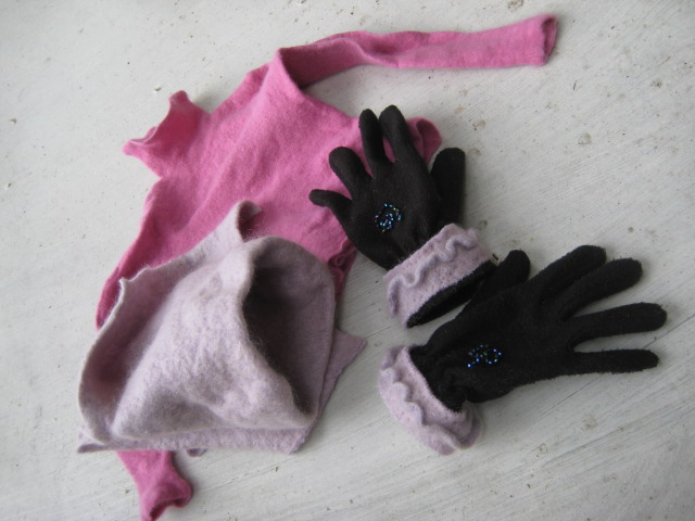 felted sweaters, gloves