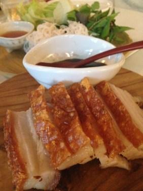 Heo quay cuon rau - crispy pork belly, Vietnamese herbs, hoisin sauce, lettuce cups
