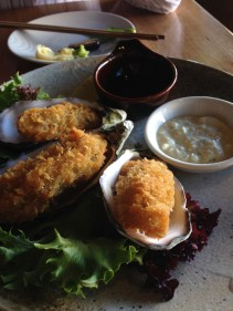 Panko crumbed oysters