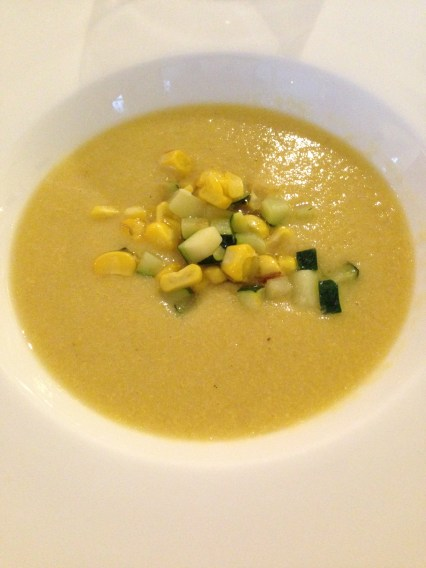 Corn soup with zucchini