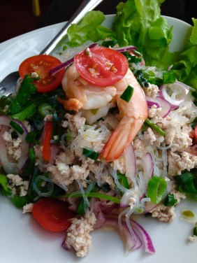 Yum Woon Sen - Prawn and minced chicken glass noodle salad with tomato and herbs