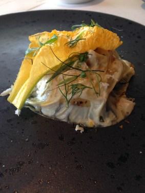 Crayfish and new potatoes, flathead roe, milk and mustard