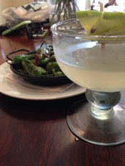 Apple Margarita -Tequila, Cointreau, Apple liqueur, lime - shaken and strained