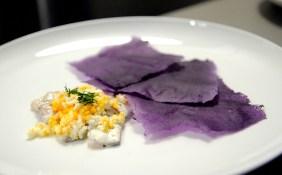 Allspice pickled kingfish with purple potato