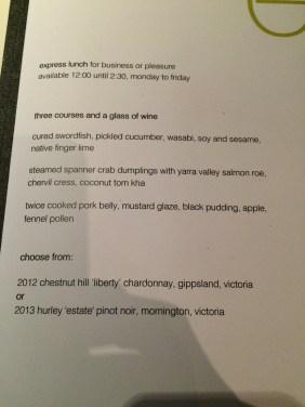 The Express Lunch menu