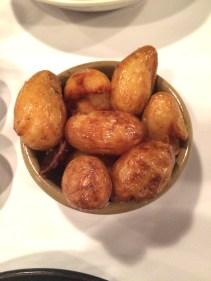 Crushed potatoes, rosemary salt