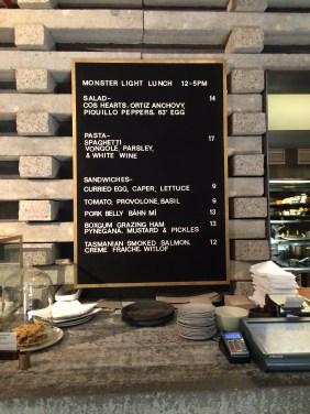 The Light Lunch menu