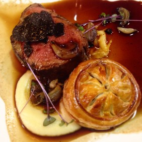Fillet of Angus beef, truffle & oxtail pithivier with scorched shallots (with sides of roasted potatoes with truffle salt) at the Grand Truffle Luncheon, Adelaide