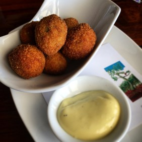 Crumbed, fried olives