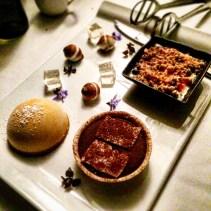Sweet Spot Share Platter - chocolate and peanut nougat tart, mango parfait, marshmallow, yuzu, green tea, berries, white chocolate