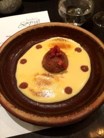 Steamed ginger pudding with 'Crema Catalana' anglaise and rhubarb compote