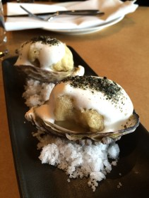 Tempura Coffin Bay oysters, celeriac puree, garlic foam and nori salt