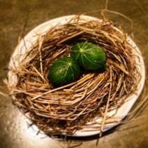 Quail egg, pickled nasturtium