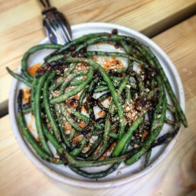Grilled snake beans, fermented chilli, scorched nuts