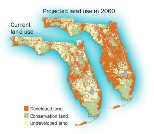 FWC map for 2060 projected population growth, state of Florida, 2011.