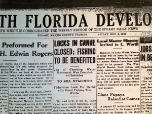 "South Florida Developer headline 1931, ""Locks in Canal Closed; Fishing to be Benefited. (Newspaper courtesy of historian Sandra Thurlow.)"