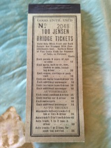 Cover of toll ticket packet for Jensen Bridge. Courtesy Bob Washam.