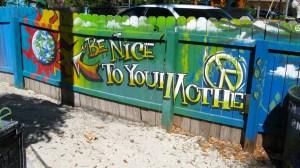 Painting on the fence at TERRA FIRMATA in Stuart. (Photo Sandra Thurlow.)
