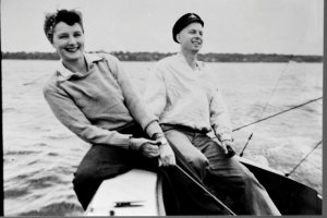 My grandparents racing their beloved sailboat. (Family photos, 1950s, Thurlow.)