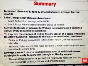 ACOE/SFWMD summary at last Periodic Scientist Call,