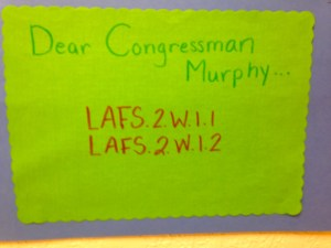 Writing Congressman Murphy fulfills a state standard.