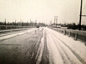 Photo of Roosevelt Bridge, 1934 hailstorm, by Francis Carlberg King. (Photo courtesy of Sandra Thurlow's book, Stuart on the St Lucie.
