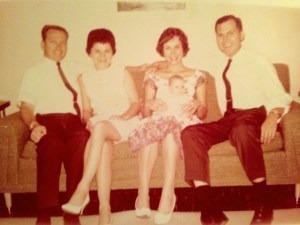 1964 photo, left to right, uncle and aunt Dale and Mary Hudson, and my parents Sandy and Tom Thurlow. Me in lap. (Self portrait)