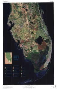 Satellite map of Florida, public image ca 2005.