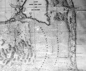 """Historic map from 1948 book """"Lake Okeechobee"""" written in 1948 by Alfred Jackson and Kathryn Hanna as part of the Rivers of America Series."""