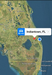 Google map showing location of Indiantown with red pin. Sewall's Point is the blue do. Indiantown is 30 min from the coast and conveniently located along Highway 720.