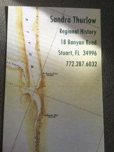 My mother's business card shows a map with the St Lucie Inlet right across from mid S. Sewall's Point. This area is not an inlet today as it was in the 1800s. (Sandra Thurlow)