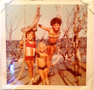 Along the beach, 1968. Lynda Nelson, Cindi Luce, and me. (Family archives)
