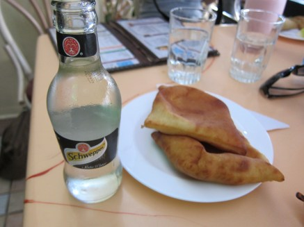 Tonic water (I like this bottle-pretty shape!) and mandazis. These are kind of like a sopapilla, but a bit thicker.