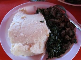 Sukuma Wiki (Greens) and Ugali (Corn Mush) 100 shillings~$1.25