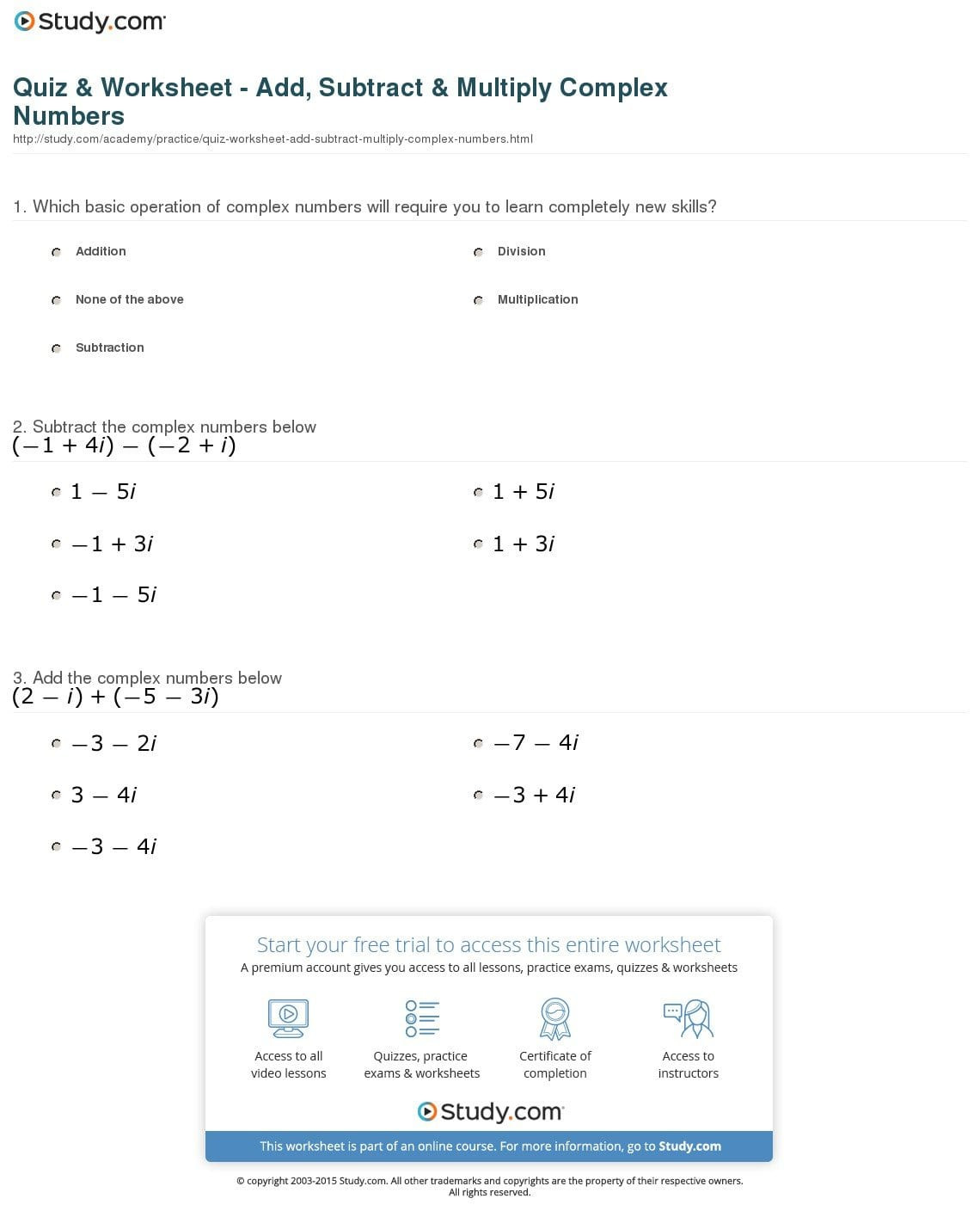 30 Graphing Complex Numbers Worksheet