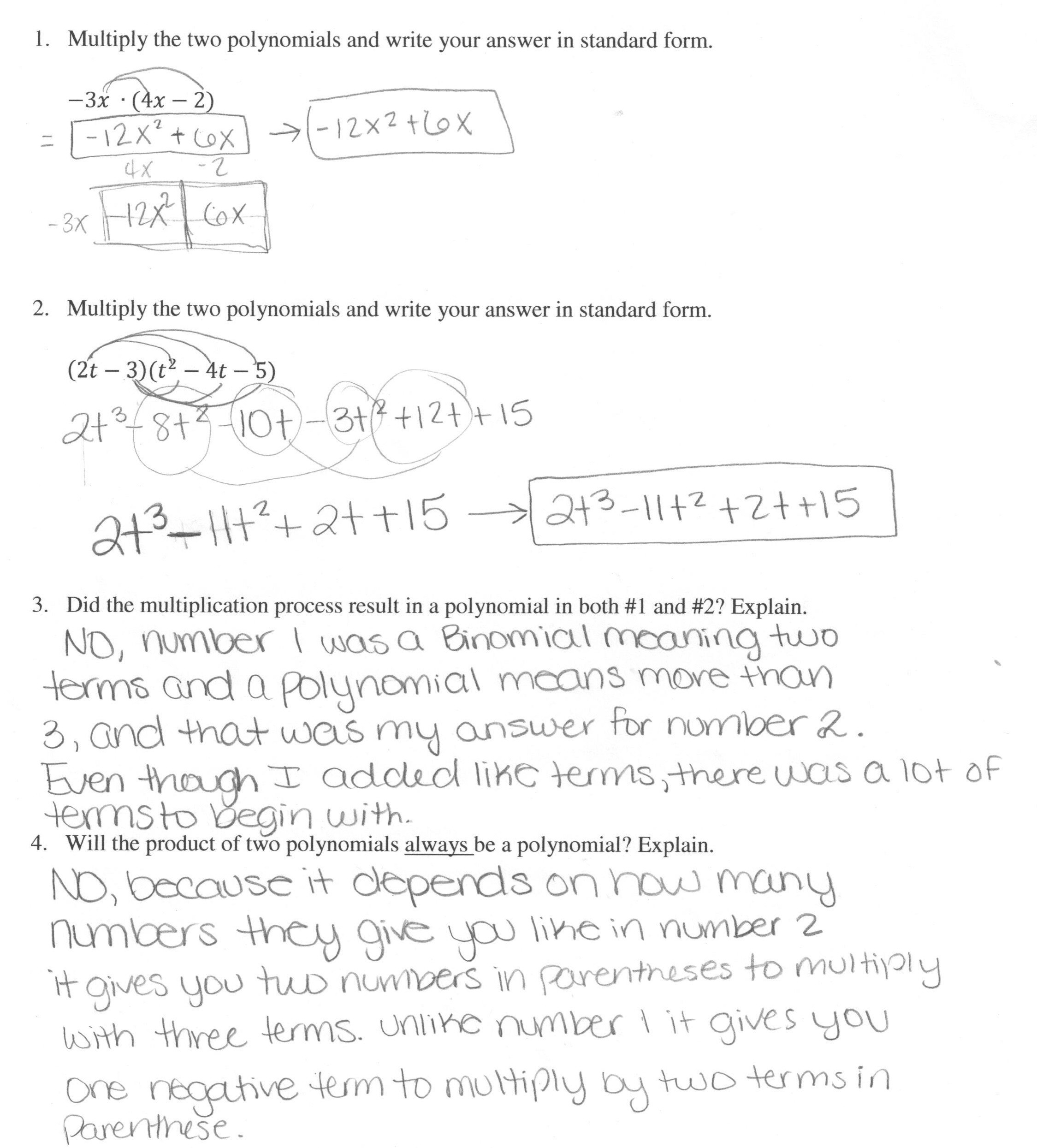 30 Multiplying Polynomials Word Problems Worksheet
