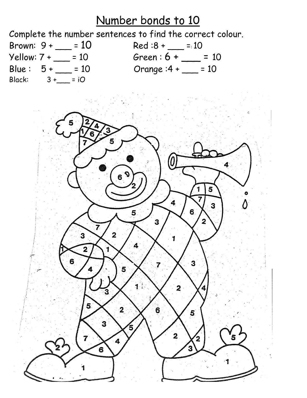 Number Bonds Worksheets Free Template Library