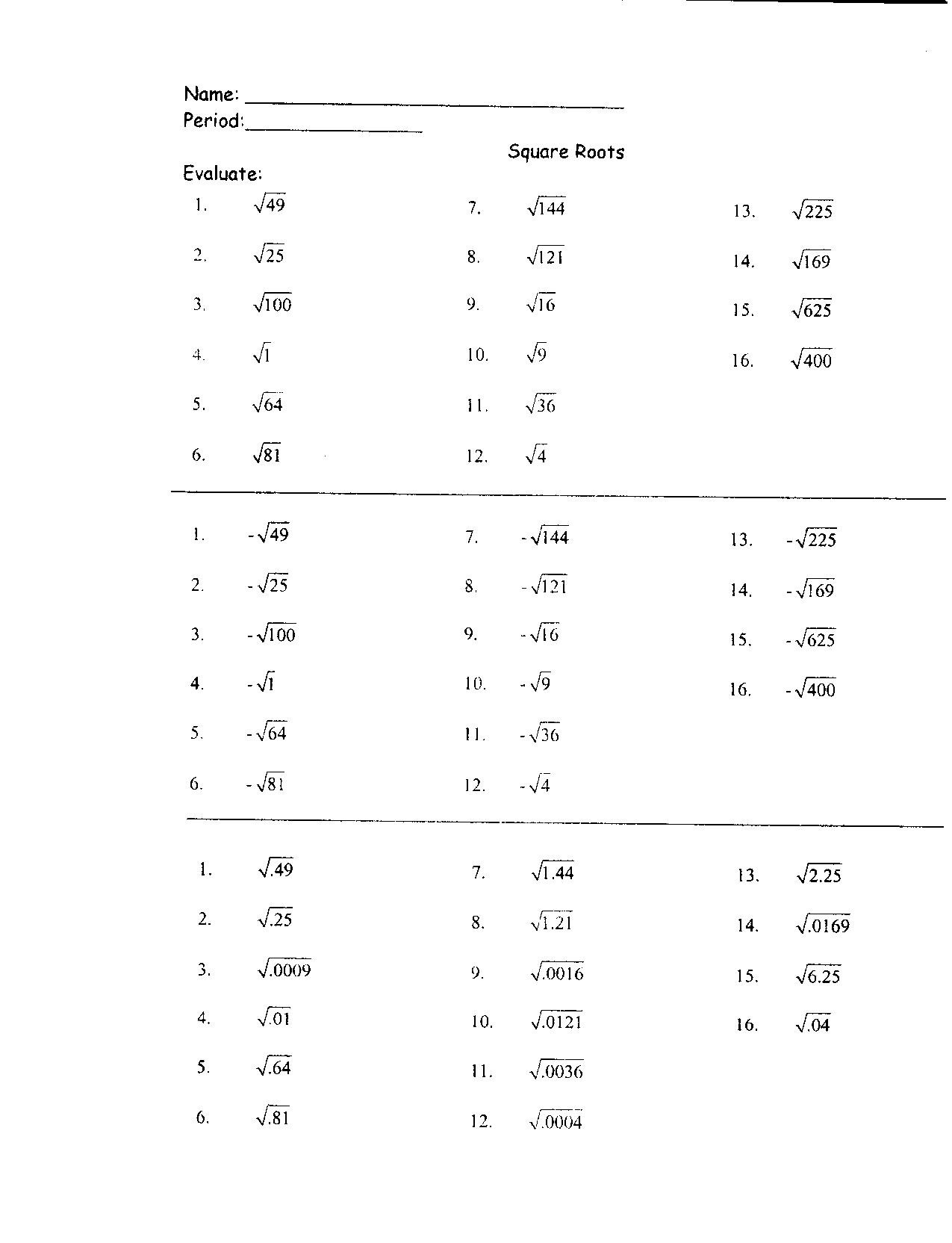 30 Roots Of Real Numbers Worksheets