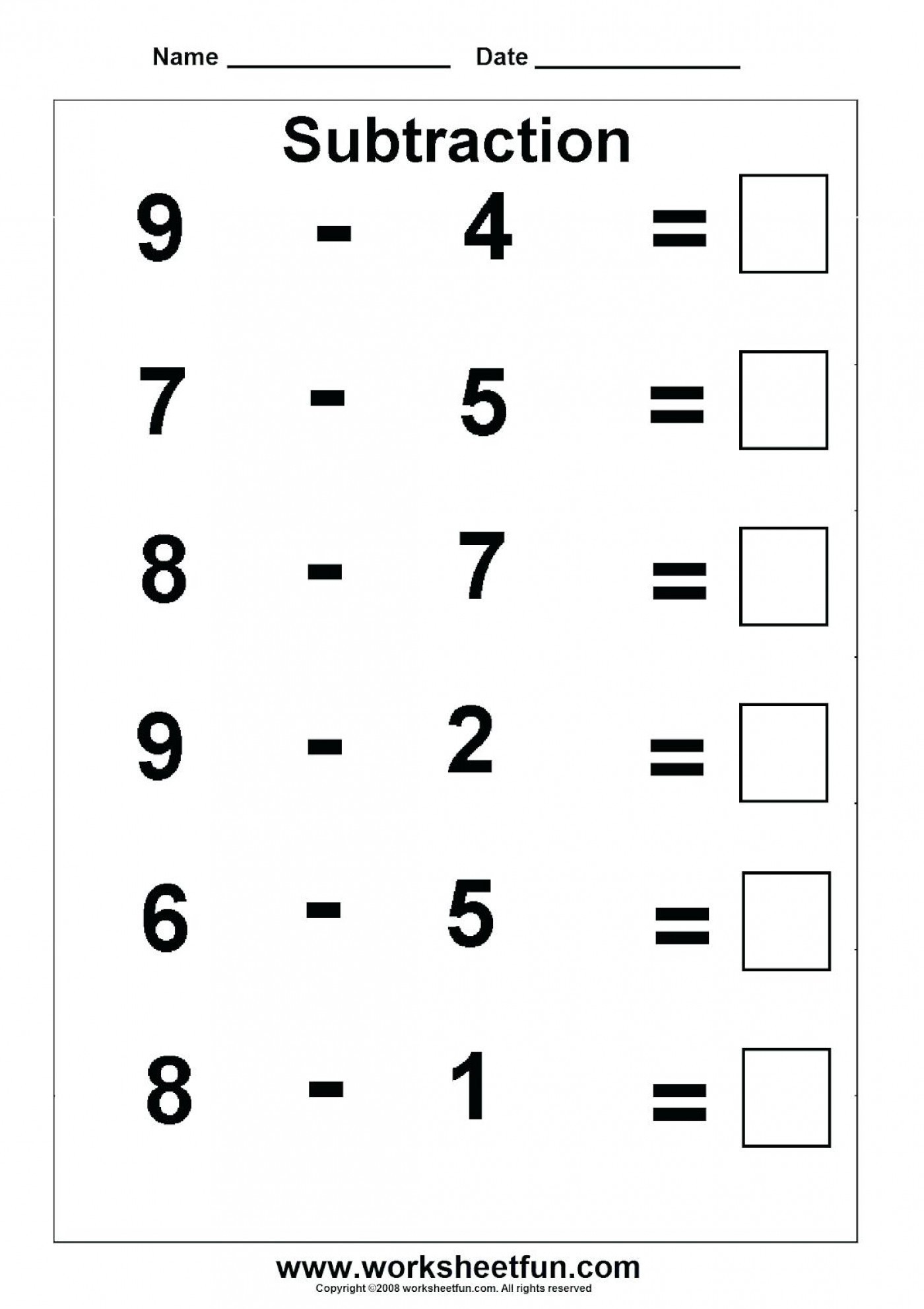30 Subtracting Whole Numbers Worksheets
