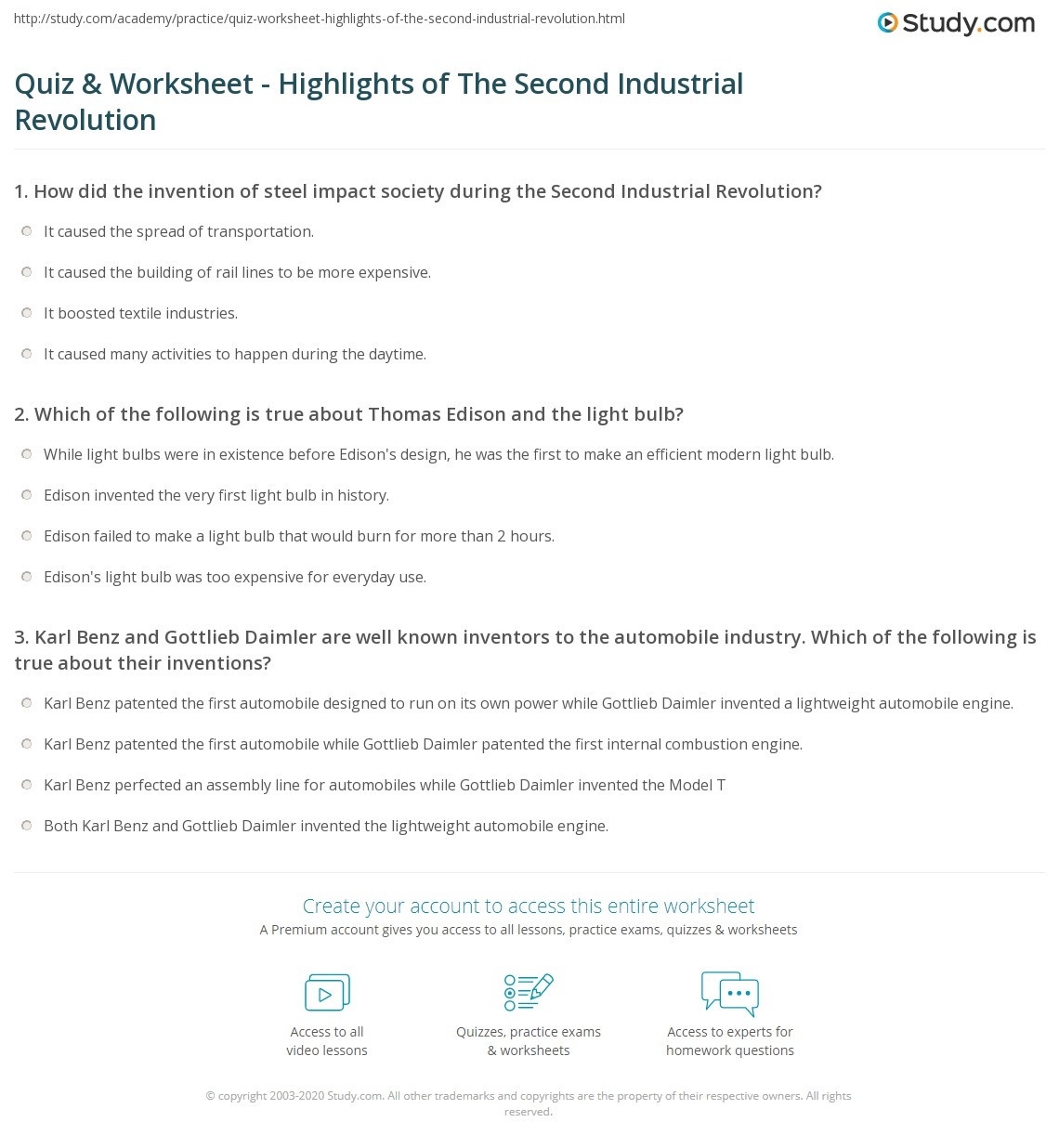 30 American Industrial Revolution Worksheet