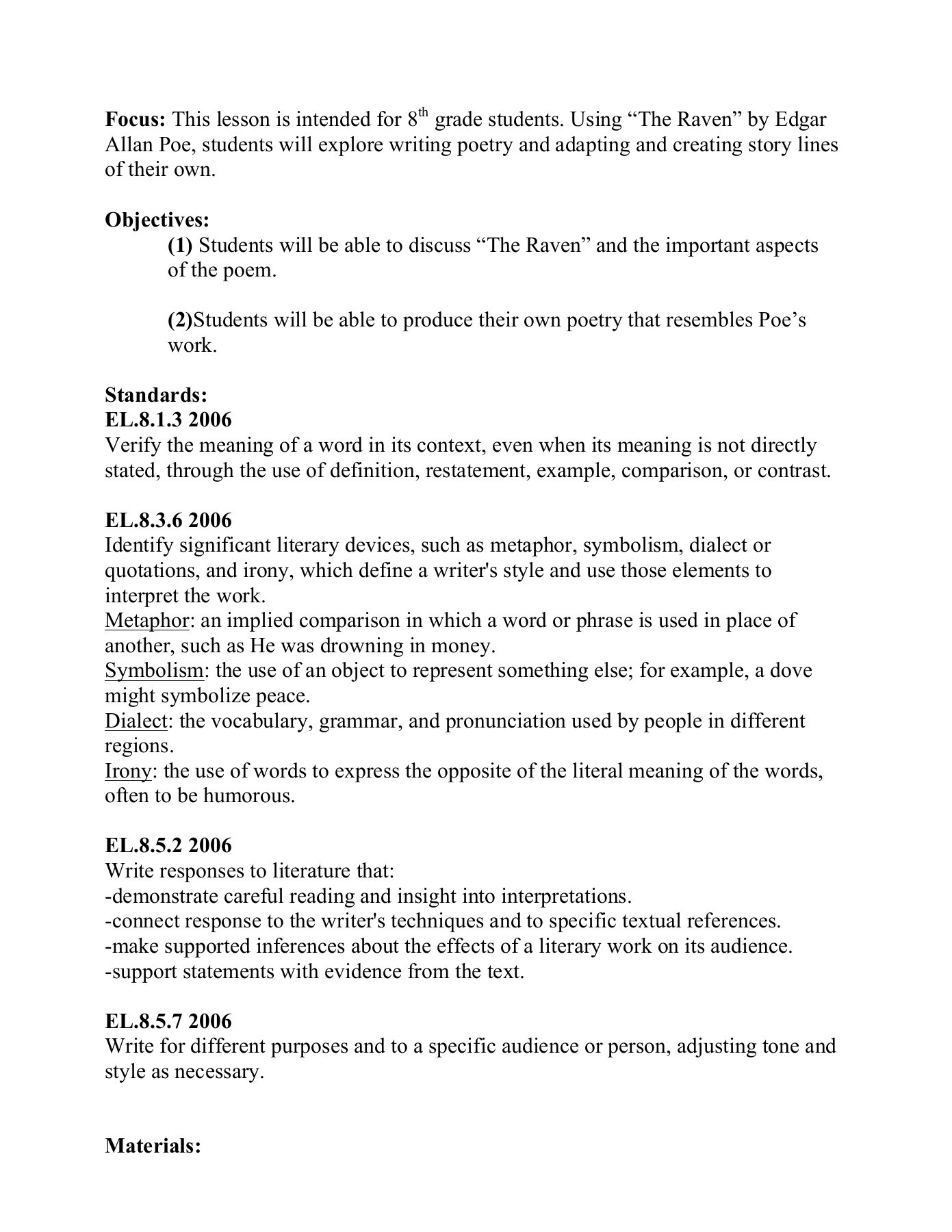 30 The Raven Literary Devices Worksheet