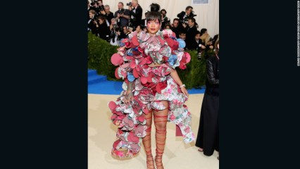 Rihanna nailed the theme perfectly in this work of art designed by Rei Kawakubo herself. I still don't know how she managed to walk eat or sit in it, nevertheless, she gets an 'Excellent' for effort.