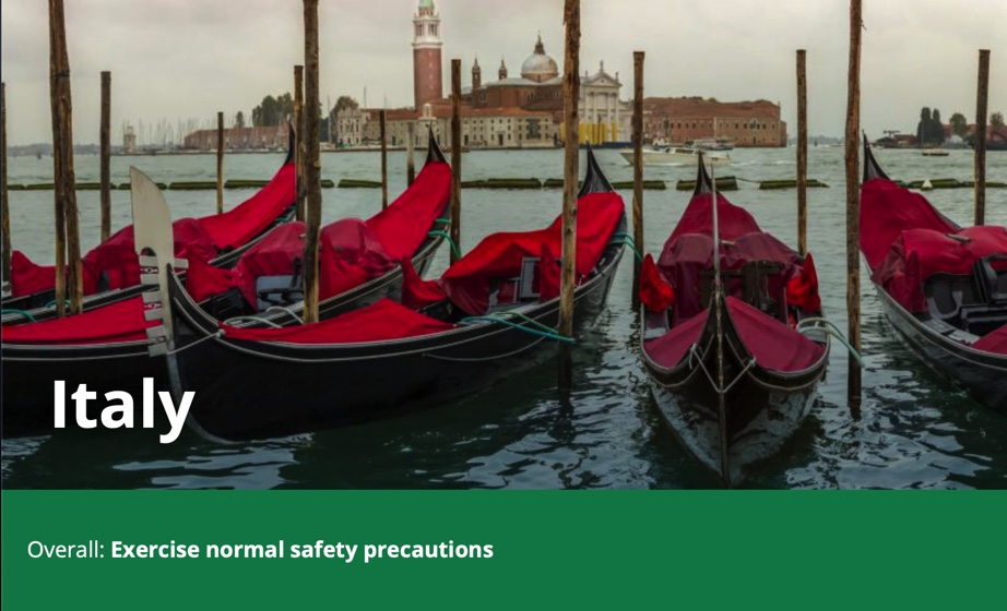 is it safe to travel to italy coronavirus