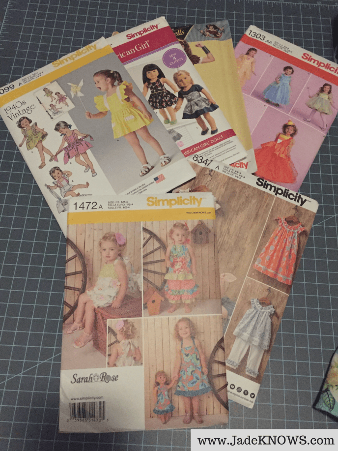 Six Simplicity patterns from Hobby Lobby for toddlers, adult women and American Girl dolls