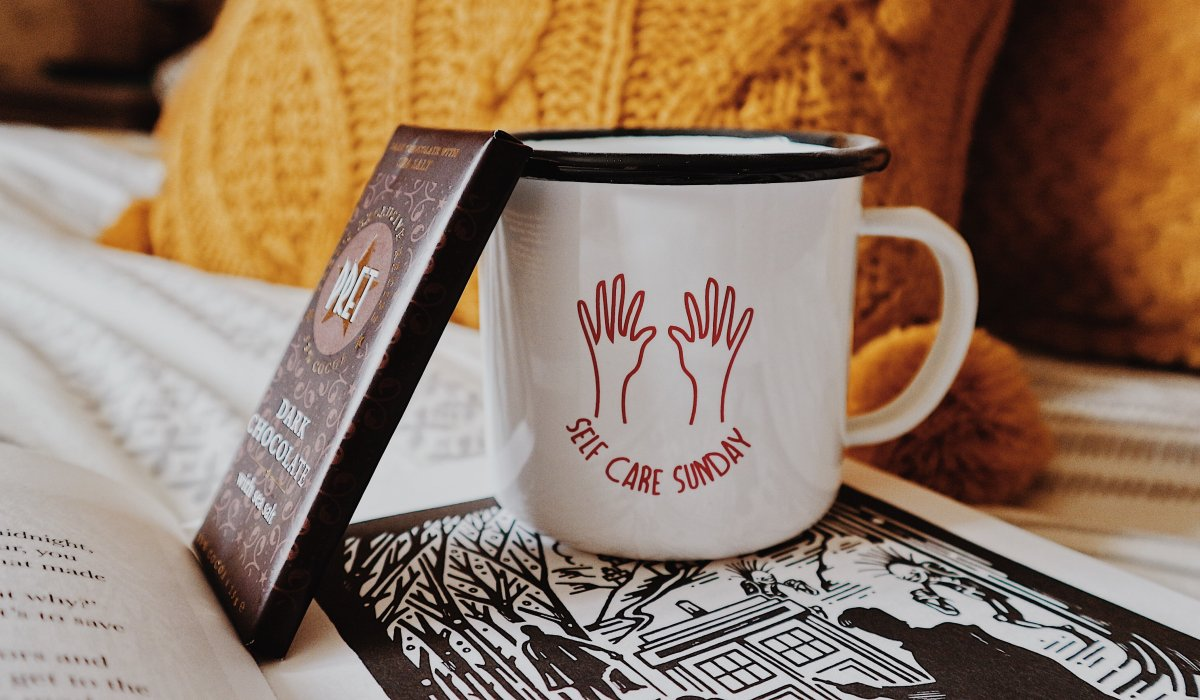 Self Care Mug   Pret Chocolate Bar   Dr Who Fairytales Book   How To Look After Your Mental Health When You're Self Employed