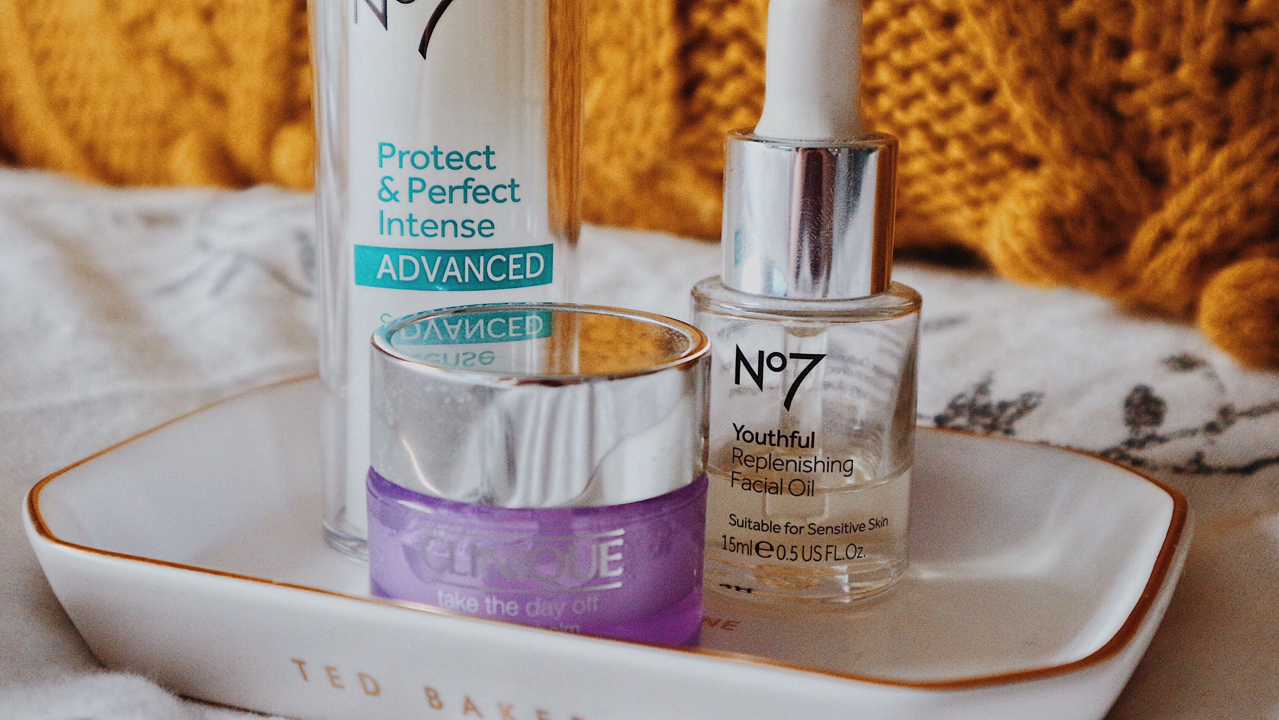 No7's Protect & Perfect Intense Advanced Serum Pump,Youthful Replenishing Facial Oil andProtect & Perfect Intense Advanced Night Cream & Clinique'sTake The Day Off Balm