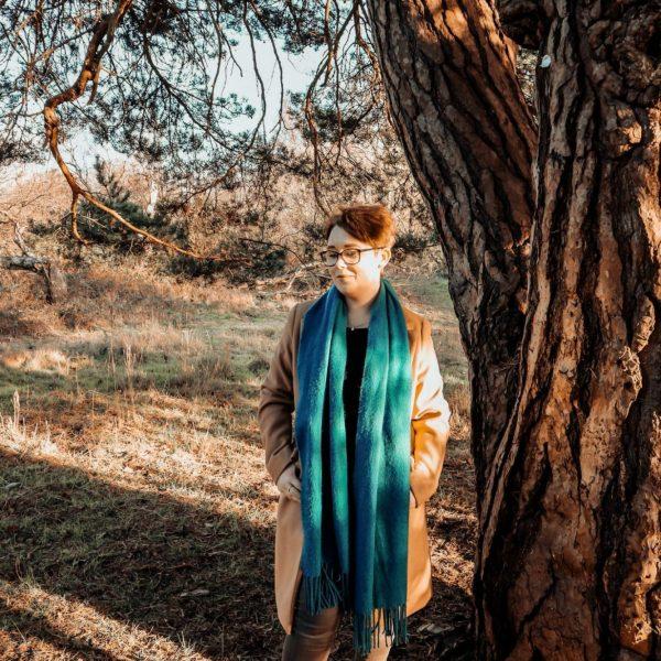 Jade Marie • Camel Coat • Blue Scarf • Sherwood Forrest • Nature